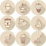Tasty food flat line icons Royalty Free Stock Photo