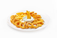 A Tasty food. Fried calamari with French fries . High quality i Royalty Free Stock Images