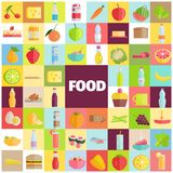 Tasty Food, Grocery Products and Refreshing Drinks. Food and drinks banner with different meals and beverages vector illustration in flat style. Grocery products Stock Photography