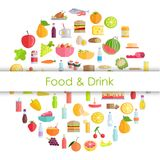 Tasty Food, Grocery Products and Refreshing Drinks. Food and drinks round banner with different meals and beverages vector illustration in flat style. Grocery Stock Image