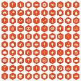 100 tasty food icons hexagon orange. 100 tasty food icons set in orange hexagon isolated vector illustration Vector Illustration