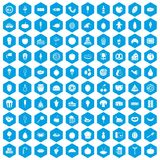 100 tasty food icons set blue. 100 tasty food icons set in blue hexagon isolated vector illustration Royalty Free Stock Photography