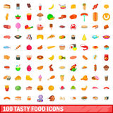 100 tasty food icons set, cartoon style. 100 tasty food icons set in cartoon style for any design vector illustration Royalty Free Stock Photo