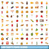 100 tasty food icons set, cartoon style Royalty Free Stock Images