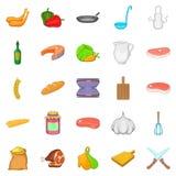 Tasty food icons set, cartoon style. Tasty food icons set. Cartoon set of 25 tasty food vector icons for web isolated on white background Stock Photos