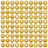 100 tasty food icons set gold. 100 tasty food icons set in gold circle isolated on white vector illustration stock illustration