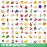 100 tasty food icons set, isometric 3d style Royalty Free Stock Photography