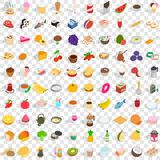 100 tasty food icons set, isometric 3d style Royalty Free Stock Photos