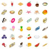 Tasty food icons set, isometric style Royalty Free Stock Photo