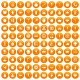 100 tasty food icons set orange. 100 tasty food icons set in orange circle isolated on white vector illustration Royalty Free Stock Photos