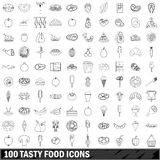 100 tasty food icons set, outline style. 100 tasty food icons set in outline style for any design vector illustration Royalty Free Stock Photography