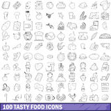 100 tasty food icons set, outline style Royalty Free Stock Photography