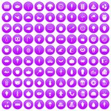 100 tasty food icons set purple. 100 tasty food icons set in purple circle isolated on white vector illustration Royalty Free Stock Photography