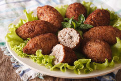 Tasty food kibbeh with bulgur, onion and pine nuts macro. horizo Stock Photo