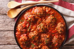 Tasty food: Meatballs albondigas with tomato sauce close-up. hor Stock Photo