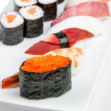 Sushi and Sushi Roll sea food Royalty Free Stock Photos