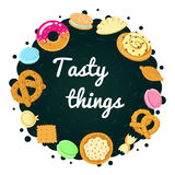 Tasty food vector multicolored background Stock Image