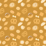 Tasty food vector seamless pattern in dark beige and light brown colors Stock Photography