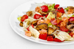A Tasty food .Vegetable salad  over white background. Stock Photos