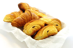 Tasty French bakery. Croissant, Pain au Chocolat. Stock Images