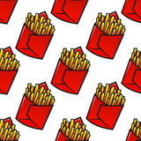 Tasty french fries packs seamless pattern Royalty Free Stock Photos