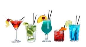 Tasty fresh alcoholic cocktails on white. Background stock photo