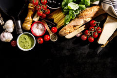 Free Tasty Fresh Appetizing Italian Food Ingredients On Dark Background. Ready To Cook. Home Italian Healthy Food Cooking Concept. Ton Stock Image - 97255691