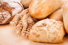 Tasty fresh baked bread bun baguette natural food Royalty Free Stock Photography