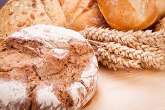 Tasty fresh baked bread bun baguette natural food Stock Photos