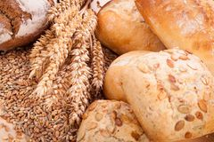 Tasty fresh baked bread bun baguette natural food stock images