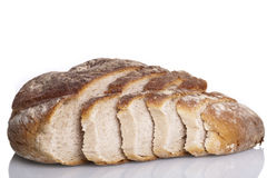 Tasty fresh baked bread bun baguette natural food. Isolated on white background Royalty Free Stock Images