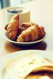Tasty fresh breakfast with croissants on plate Stock Image