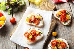 Tasty fresh bruschetta Stock Photos