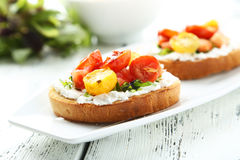 Tasty fresh bruschetta Royalty Free Stock Images