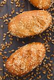 Tasty fresh bun with seeds Royalty Free Stock Photos