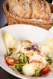 Tasty fresh caesar salad with grilled chicken Stock Photos