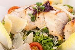 Tasty fresh caesar salad with grilled chicken Royalty Free Stock Photos
