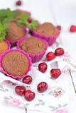 Tasty chocolate muffins. Tasty fresh chocolate muffins with ripe berries of cherry royalty free stock image