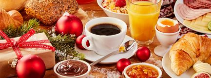 Tasty fresh Christmas Intercontinental breakfast Royalty Free Stock Photography