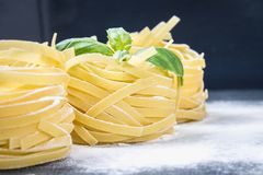 Tasty Fresh Colorful Ingredients for Cooking Pasta Tagliatelle.  Royalty Free Stock Photo
