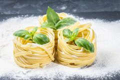 Tasty Fresh Colorful Ingredients for Cooking Pasta Tagliatelle.  Royalty Free Stock Photography