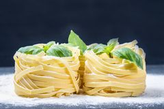 Tasty Fresh Colorful Ingredients for Cooking Pasta Tagliatelle.  Royalty Free Stock Photos