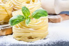 Tasty Fresh Colorful Ingredients for Cooking Pasta Tagliatelle.  Royalty Free Stock Images