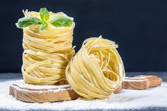 Tasty Fresh Colorful Ingredients for Cooking Pasta Tagliatelle.  Stock Photos