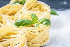 Tasty Fresh Colorful Ingredients for Cooking Pasta Tagliatelle.  Stock Photography