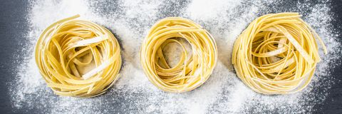 Tasty Fresh Colorful Ingredients for Cooking Pasta Tagliatelle.  Stock Images