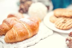 Tasty fresh croissants as breakfast meal Royalty Free Stock Photos