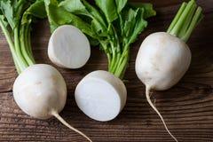 Tasty fresh crude white round japanese radish Stock Photography