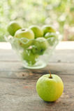 Green apples on table Royalty Free Stock Image