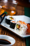 Tasty, fresh and healthy sushi set Royalty Free Stock Photos